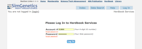 Log In page